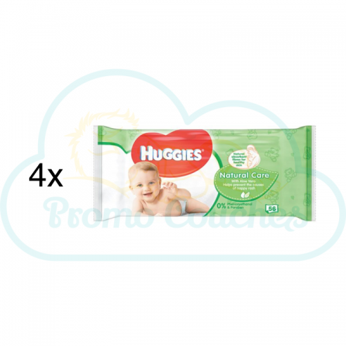 LINGETTES HUGGIES NATURAL CARE 4x56