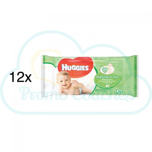 LINGETTES HUGGIES NATURAL CARE 12x56