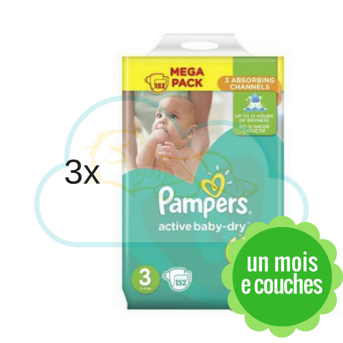 456 COUCHES PAMPERS ACTIVE BABY DRY taille 3