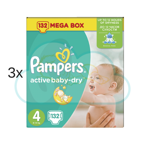 396 COUCHES PAMPERS ACTIVE BABY DRY taille 4