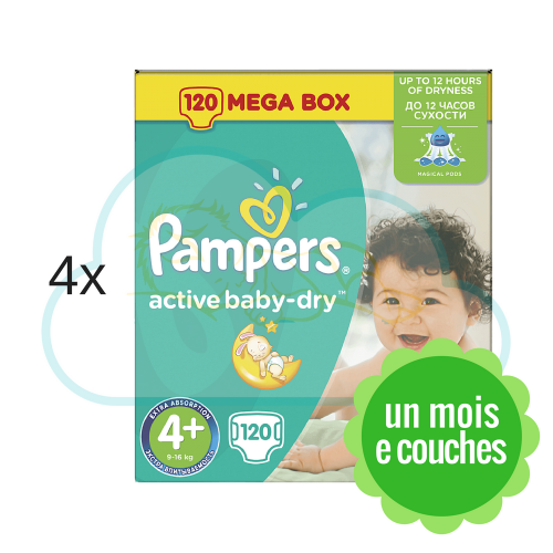 480 COUCHES PAMPERS ACTIVE BABY DRY taille 4+