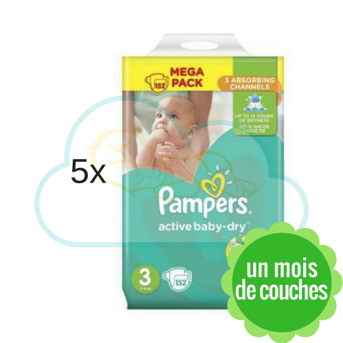 760 COUCHES PAMPERS ACTIVE BABY DRY taille 3