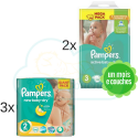 300 COUCHES taille 2 et 304 COUCHES taille 3 PAMPERS ACTIVE BABY DRY