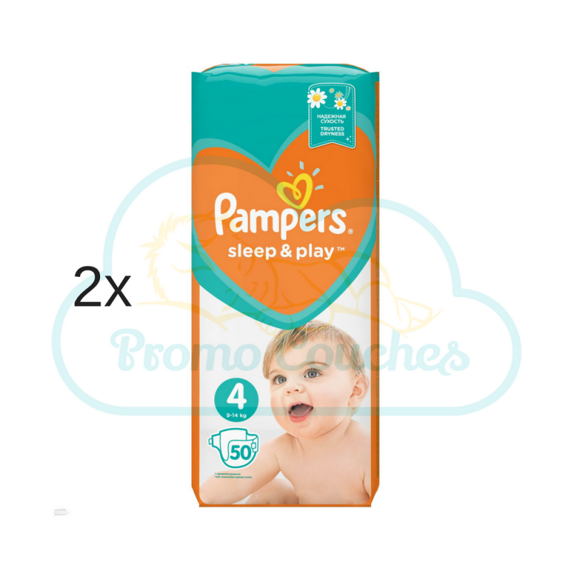 100 COUCHES PAMPERS SLEEP&PLAY (SIMPLY DRY) taille 4