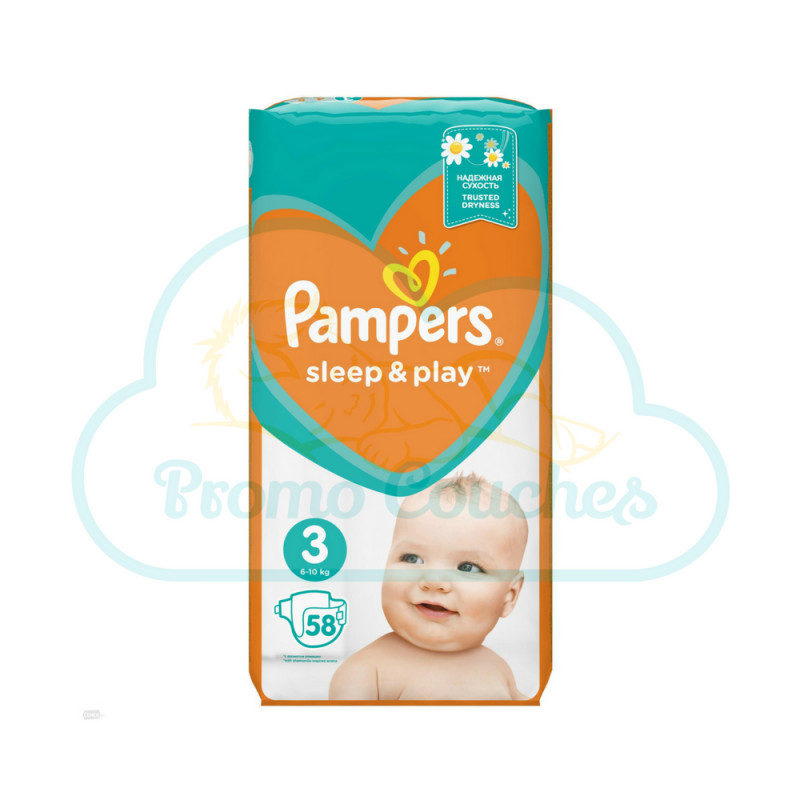 58 COUCHES PAMPERS SLEEP&PLAY (SIMPLY DRY) taille 3