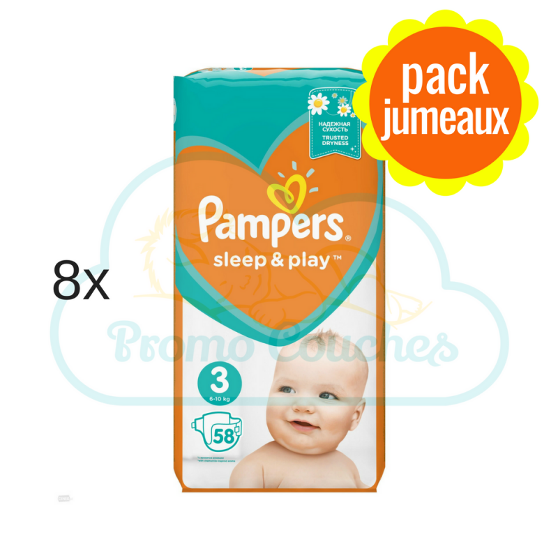 464 COUCHES PAMPERS SLEEP&PLAY (SIMPLY DRY) taille 3