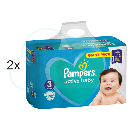 180 COUCHES PAMPERS ACTIVE BABY taille 3