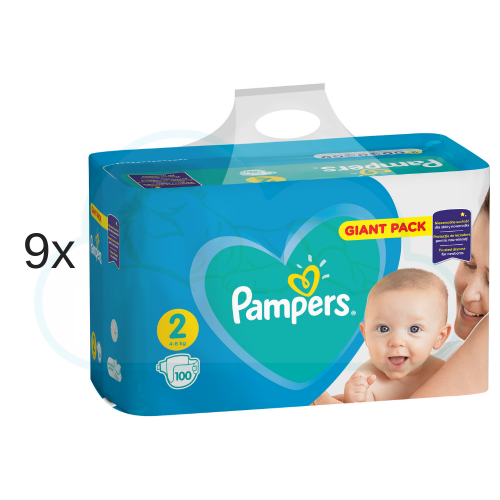 900 COUCHES PAMPERS NEW BABY  taille 2