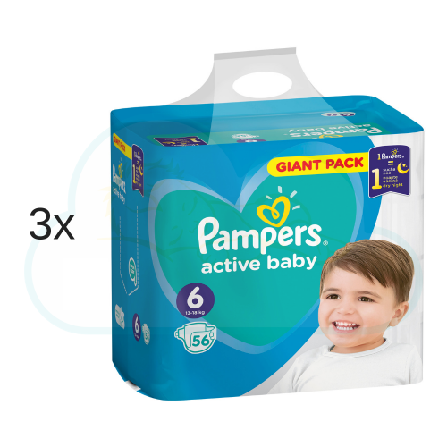 168 COUCHES PAMPERS ACTIVE BABY taille 6