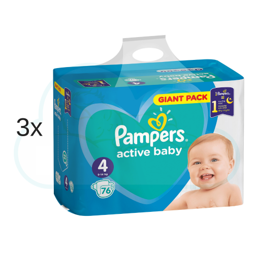 228 COUCHES PAMPERS ACTIVE BABY taille 4