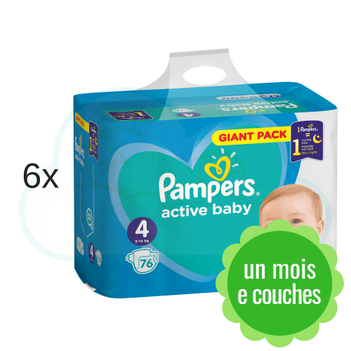 456 COUCHES PAMPERS ACTIVE BABY taille 4