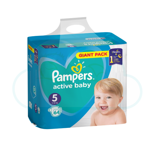 64 COUCHES PAMPERS ACTIVE BABY taille 5