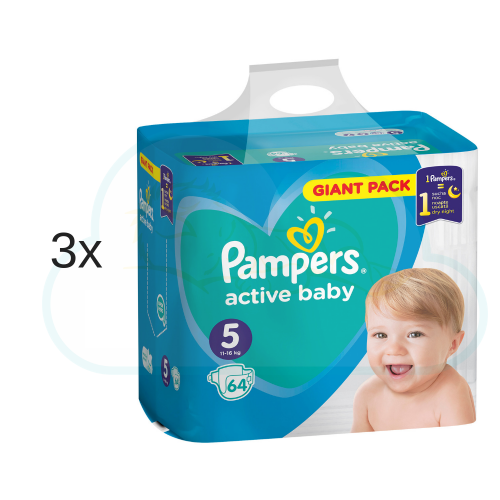 192 COUCHES PAMPERS ACTIVE BABY taille 5