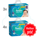 270 COUCHES taille 3 et 304 COUCHES taille 4 PAMPERS ACTIVE BABY DRY