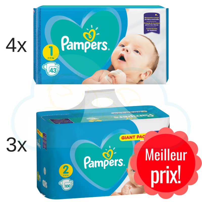 PACK NAISSANCE PAMPERS tailles 1 et 2