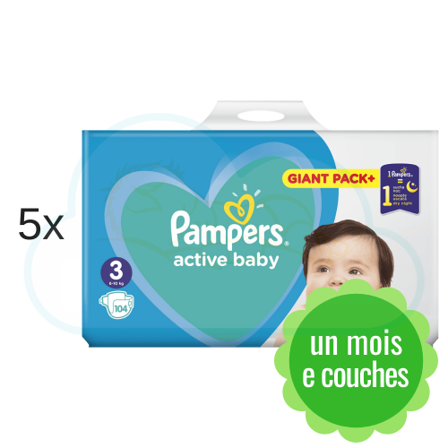 520 COUCHES PAMPERS ACTIVE BABY  taille 3