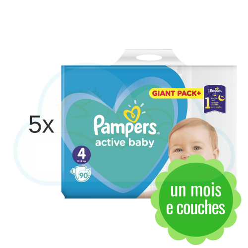 450 COUCHES PAMPERS ACTIVE BABY taille 4