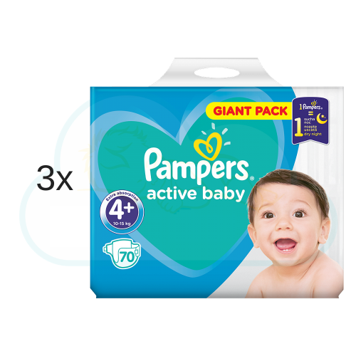 210 COUCHES PAMPERS ACTIVE BABY DRY taille 4+