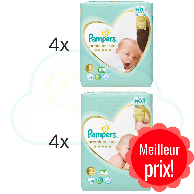 264 COUCHES taille 1 et 240 COUCHES taille 2 PAMPERS PREMIUM CARE