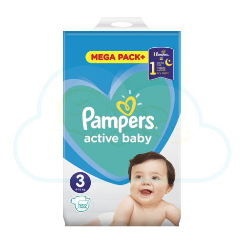 152 COUCHES PAMPERS ACTIVE BABY taille 3