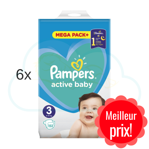 912 COUCHES PAMPERS ACTIVE BABY taille 3