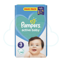 66 COUCHES PAMPERS ACTIVE BABY taille 3