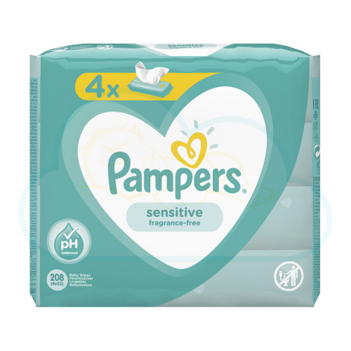LINGETTES PAMPERS SENSITIVE 4x52