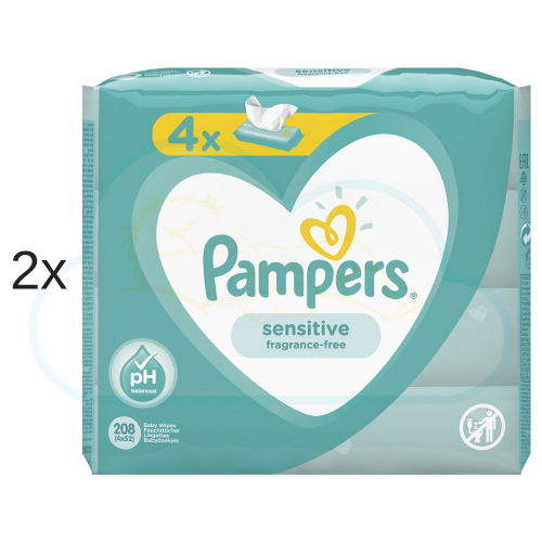 LINGETTES PAMPERS SENSITIVE 8x52