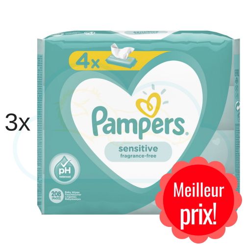 LINGETTES PAMPERS SENSITIVE 12x52
