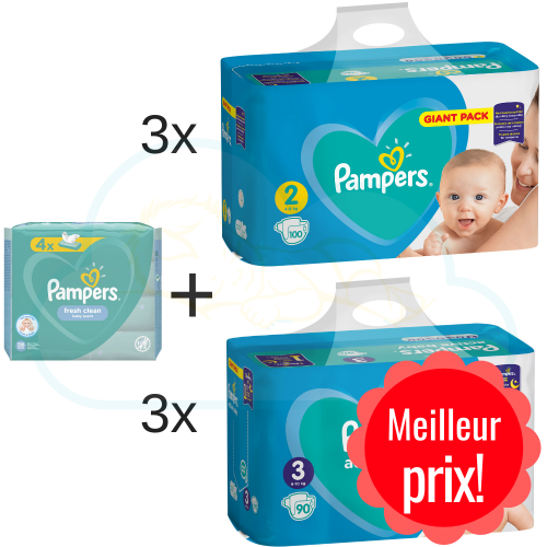 300 COUCHES taille 2 et 270 COUCHES taille 3 PAMPERS ACTIVE BABY + 4x52  PAMPERS BABY FRESH CLEAN