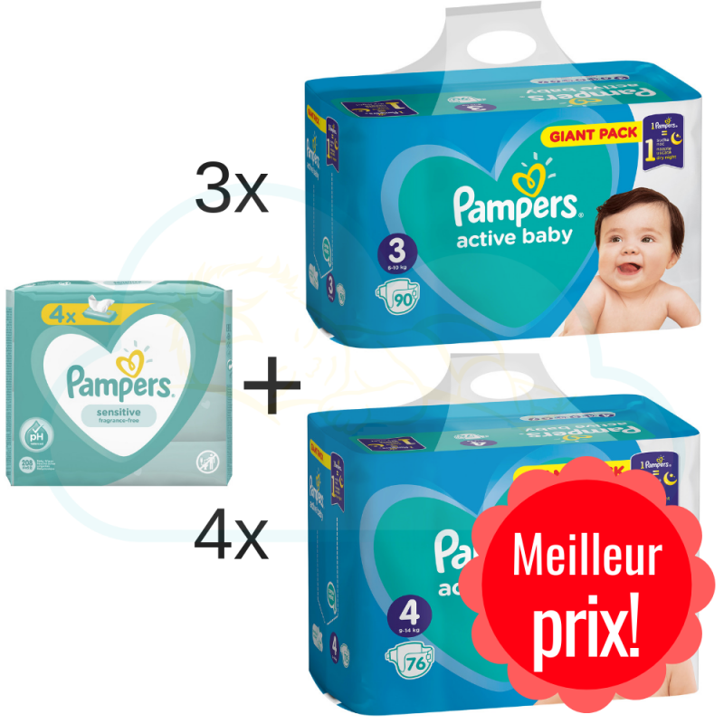270 COUCHES taille 3 et 304 COUCHES taille 4 PAMPERS ACTIVE BABY DRY + 4x52 PAMPERS SENSITIVE