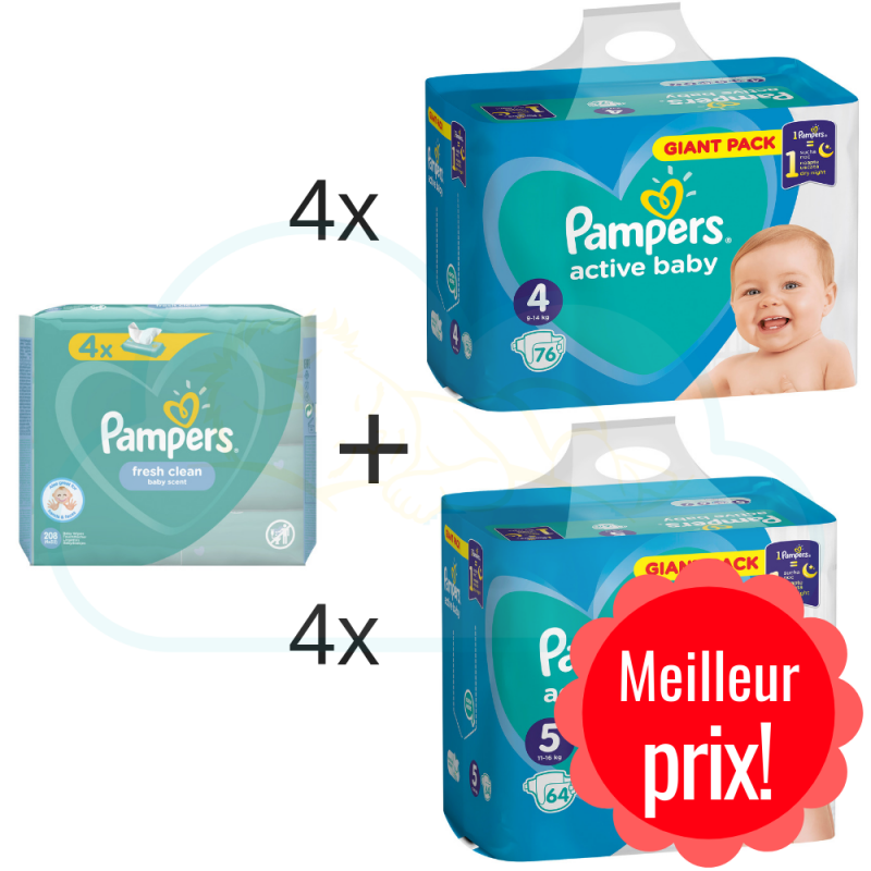 304 COUCHES taille 4 et 256 COUCHES taille 5 PAMPERS ACTIVE BABY + 4x52 PAMPERS BABY FRESH CLEAN