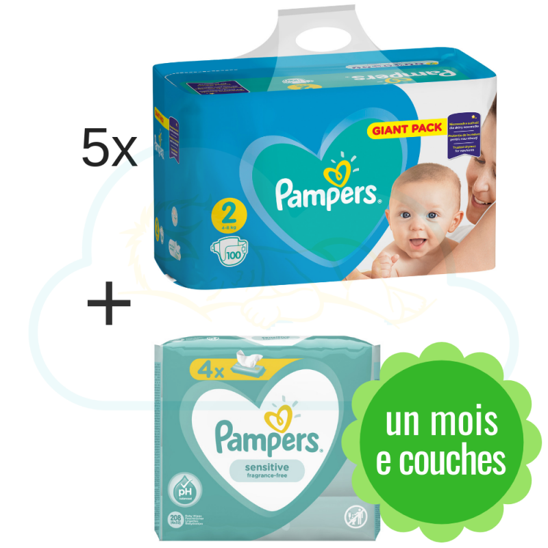500 COUCHES PAMPERS NEW BABY  taille 2 + 4x52 PAMPERS BABY FRESH CLEAN