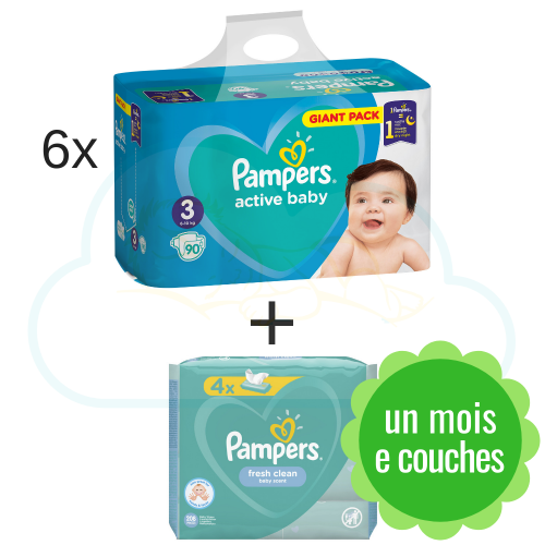 540 COUCHES PAMPERS ACTIVE BABY taille 3 + 4x52  PAMPERS BABY FRESH CLEAN