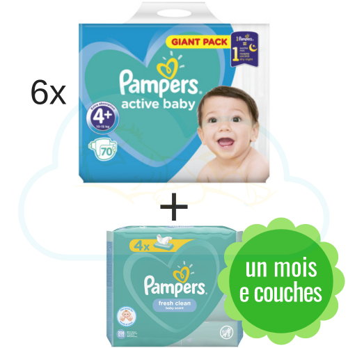 420 COUCHES PAMPERS ACTIVE BABY DRY taille 4+ + 4x64 PAMPERS BABY FRESH