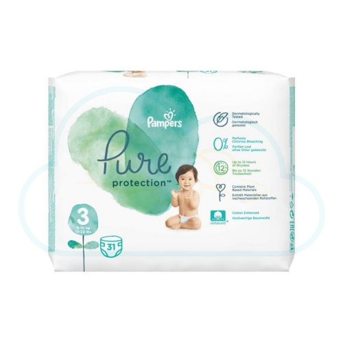 31 COUCHES PAMPERS PURE PROTECTION taille 3
