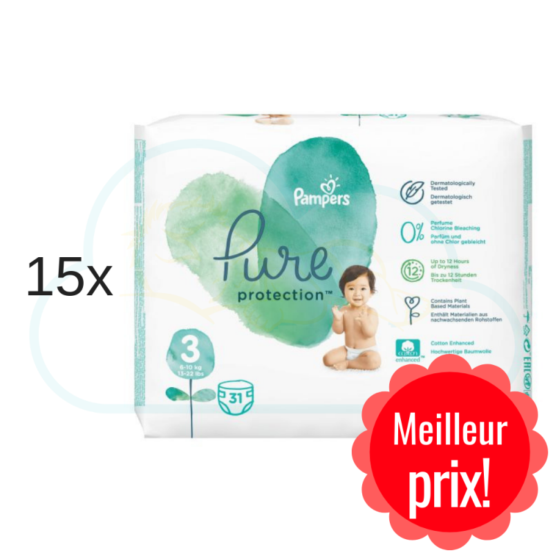 465 COUCHES PAMPERS PURE PROTECTION taille 3