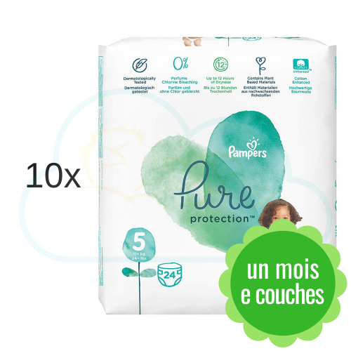240 COUCHES PAMPERS PURE PROTECTION taille 5