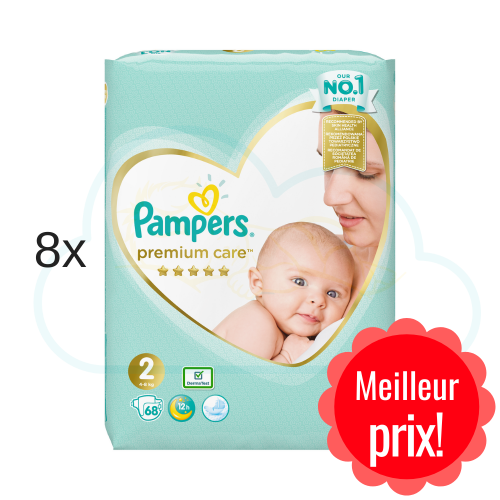 544 COUCHES PAMPERS PREMIUM CARE taille 2