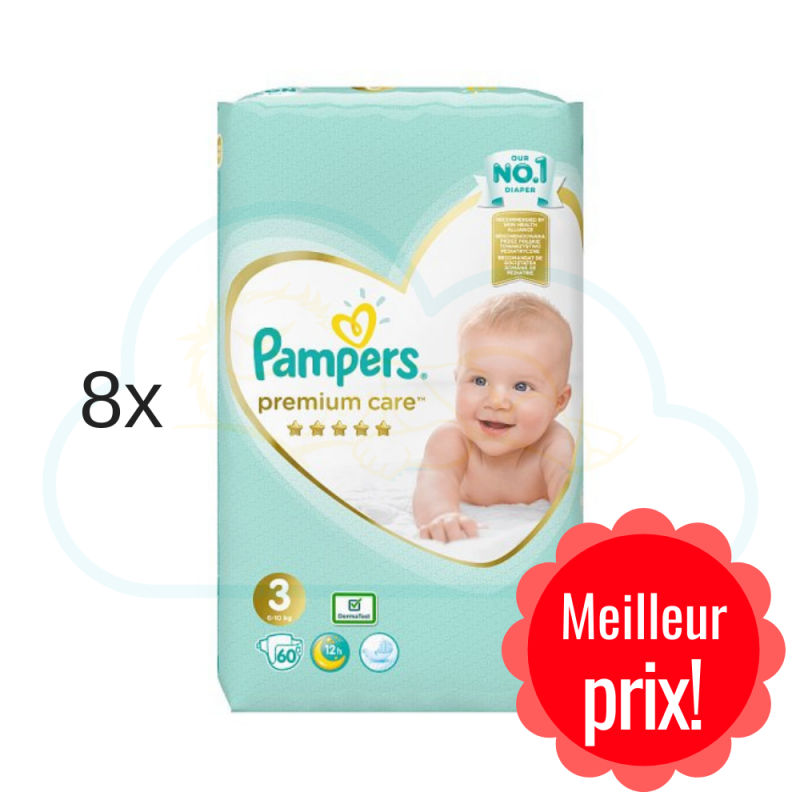 480 COUCHES PAMPERS PREMIUM CARE taille 3