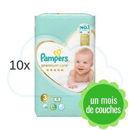 600 COUCHES PAMPERS PREMIUM CARE taille 3