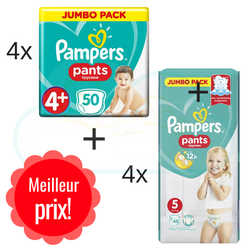 200 COUCHES taille 4+ et 192 COUCHES taille 5 PAMPERS PANTS
