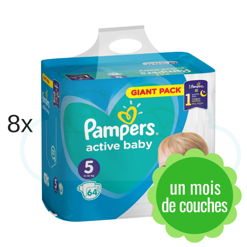 512 COUCHES PAMPERS ACTIVE BABY taille 5